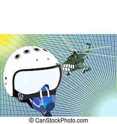 Helmet pilot and helicopter