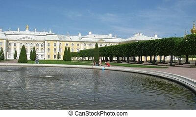 Grand Palace, Fountain Duboviy , and Upper Garden of Peterhof in St. Petersburg, Russia.