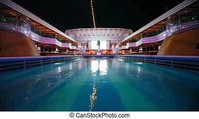 water pool on top deck of cruise ship