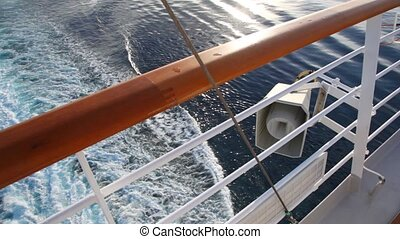view from deck of cruise liner on sea with tarce