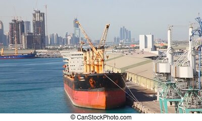 freighter in port of Abu Dhabi, United Arab Emirates