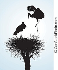 Betrothal storks - Black vector silhouettes of two storks to...