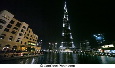 View from Burj Dubai Lake Bridge on skyscraper Burj Khalifa...
