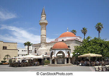 Defderdar Mosque - Kos town, with Eleftheria square and...