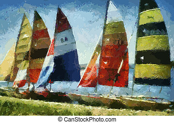 Catamarans Painting (Vector)