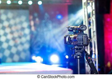 camera near the podium - close up of a camera near the...