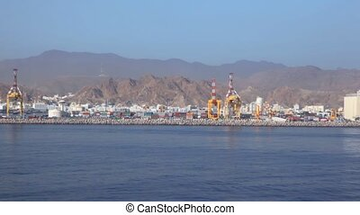 containers in seaport of Muscat, Oman - lot of containers in...