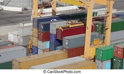 stacks of freight containers in seaport, Muscat, Oman -...