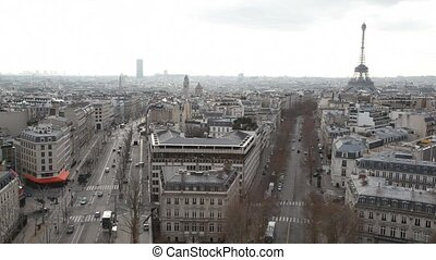 view of Paris city with Eiffel Tower from Triumphal Arch