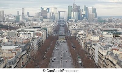 The Champs Elysees and La Defense Paris, view from Triumphal Arch