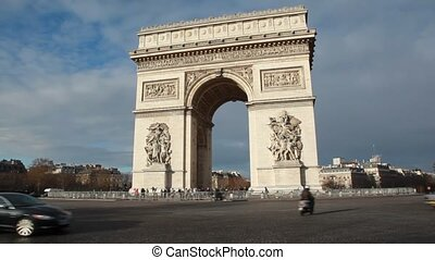Triumphal Arch, Champs Elysee war memorial in Paris, France