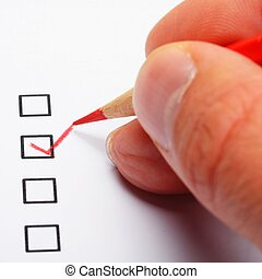 poll or polling concept with checkbox and red pencil showing...