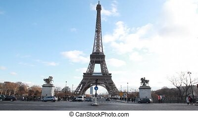 Eiffel Tower and equestrian statues in Paris