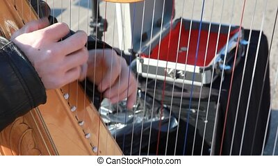 hands of musician plays harp outdoor