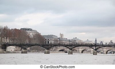 bridge Pont des Arts, view from Siene river, Paris, France