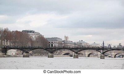 bridge Pont des Arts, view from Siene river, Paris, France