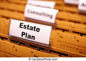 real estate plan on business folder showing buy a house...