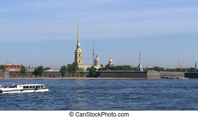 Peter and Paul Fortress and river Neva in St. Petersburg,...