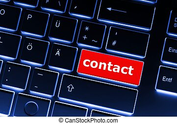 contact us - word contact us on red keyboard key