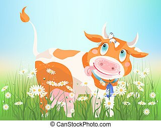 Chamomile cow - The small red cow on chamomiles meadow.
