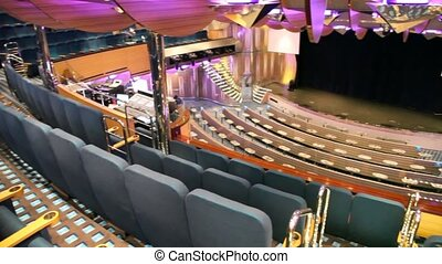 interior of concert hall on cruise ship, panning