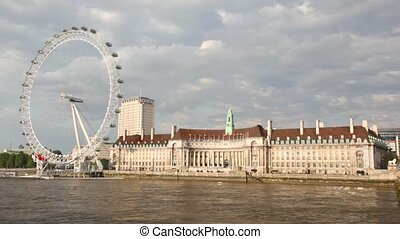 View on giant Ferris wheel called London Eye and River...
