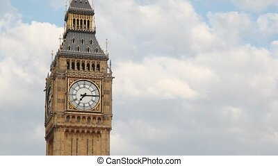 Big Ben rings his bell in morning time on some windy and...