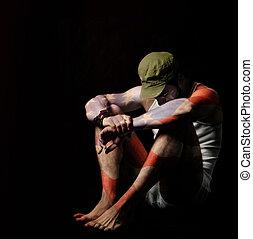 Portrait - Fine art full body portrait of a soldier in...