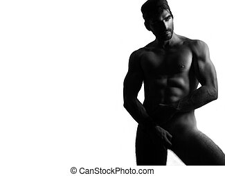 Sexy naked man - Full body black and white portrait of a...