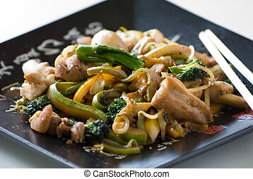 Asian Food - Asian stir fried noodles with vegetable