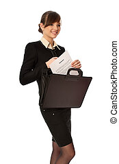signing the contract - Businesswoman taking out from a...