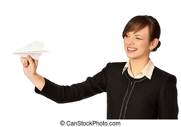 business break - Businesswoman throwing white paper plane on...