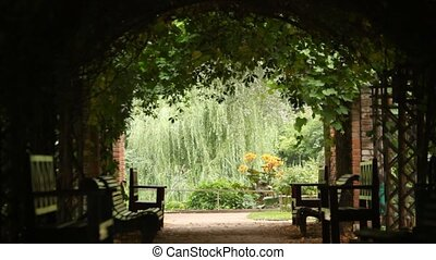 Dark plant tunnel with few bends with view on some garden -...