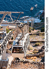 Santorini cable car - Santorini overhead cable car...