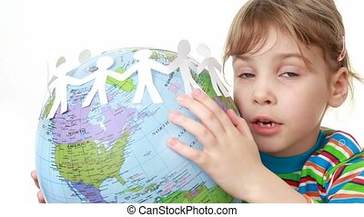 girl holds globe with ribbon of paper cut manikins - Little...