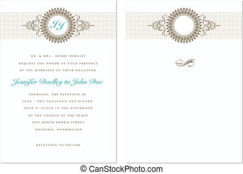 Vector Pastel Wedding Frame Set - Set of ornate vector...