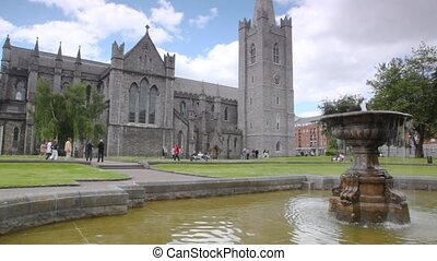 Fountain in park near great Saint Patrick's Cathedral in Dublin