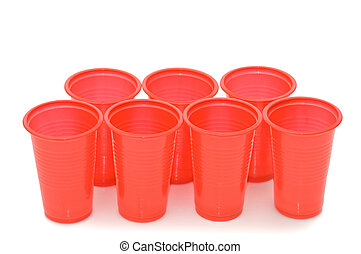 plastic cups isolated on the white
