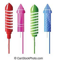 rocket fireworks - illustration of rocket fireworks on white...