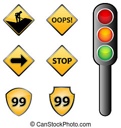 traffic signs - illustration of traffic signs on white...