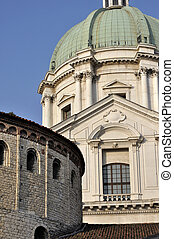 detail of two cathedrals, brescia - foresight of building...