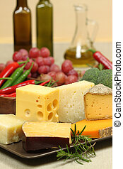 Cheese varieties - Delicacies Food composition - hard and...