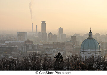foggy city skyline, brescia - aerial view of city skyline...