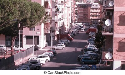 Heavy vehicle traffic at some street of Rome at day