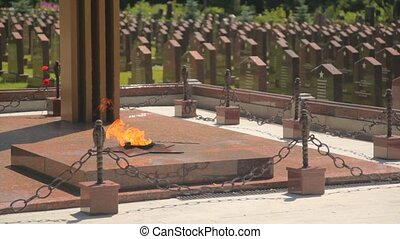 eternal fire and tombs of dying defenders of the motherland
