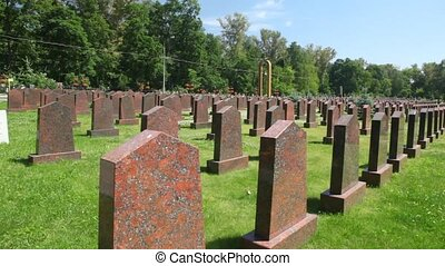 tombs of soviet soldiers, who have died during the Great...