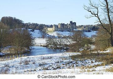 zamek,  Alnwick, Śnieg, zimy