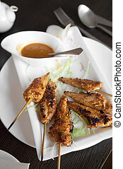 Chicken Satay - Delicious chicken satay on skewers