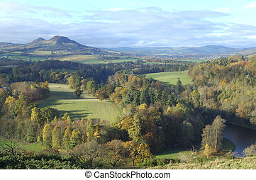 Eildon Hills from Scotts View with river Tweed - landscape...