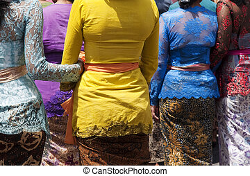 Balinese women - Rear view of Balinese women in traditional...
